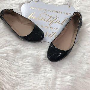Black Faux Leather Flats Size 10